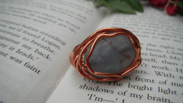 Blue Lace Agate Wire Wrap Ring O FREE POST