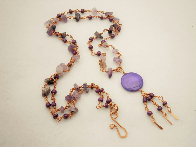 Amethyst and Paua Shell Wire Wrapped Copper Necklace FREE POST