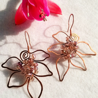 Vine Leaf - Copper Wire Earrings FREE POST