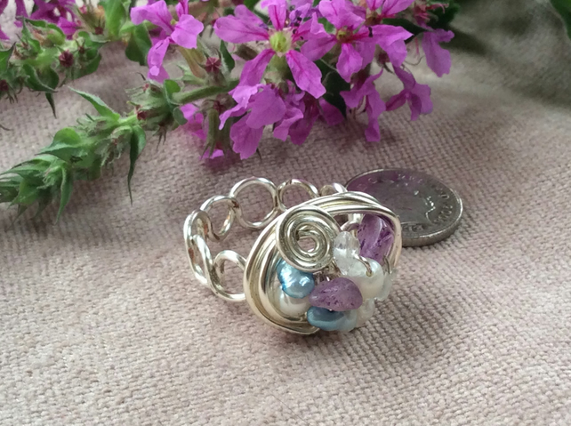Silver Plated Wire Nest Ring Amethyst and Turquoise FREE POST