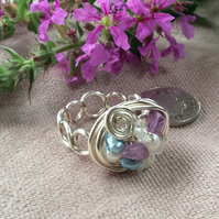 Silver Plated Wire Nest Ring Amethyst and Turquoise