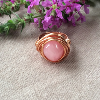 Pink Agate Nugget Wire Wrap Ring FREE POST