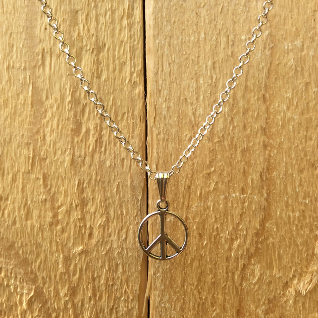 Silver Plated Peace Necklace  FREE POST