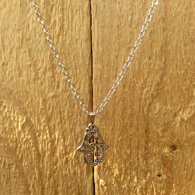 Silver Plated Hamsa, Hand of Fatima Necklace  FREE POST