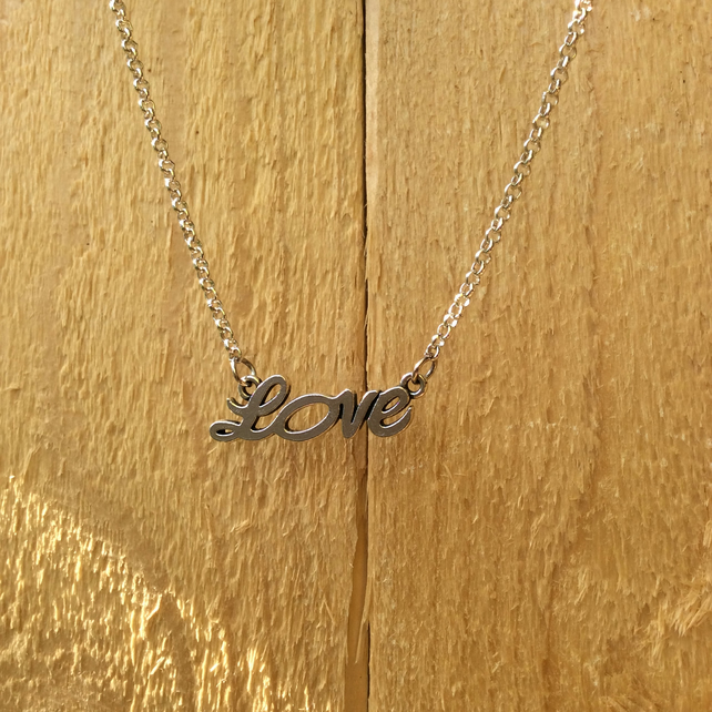 Silver Plated Love Necklace  FREE POST
