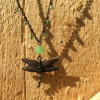 Green Crystal Dragonfly Pendant Necklace FREE POST