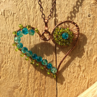 Turquoise and Peridot Beaded Heart Necklace FREE POST