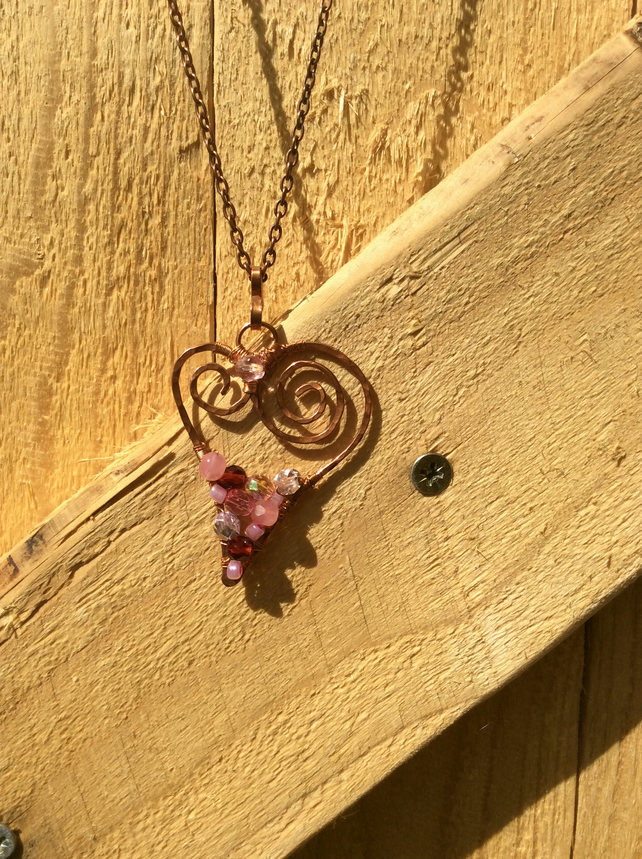 Rose Pink and Garnet Beaded Heart Necklace FREE POST
