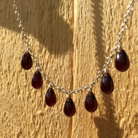 Garnet Bead Drops Necklace FREE POST