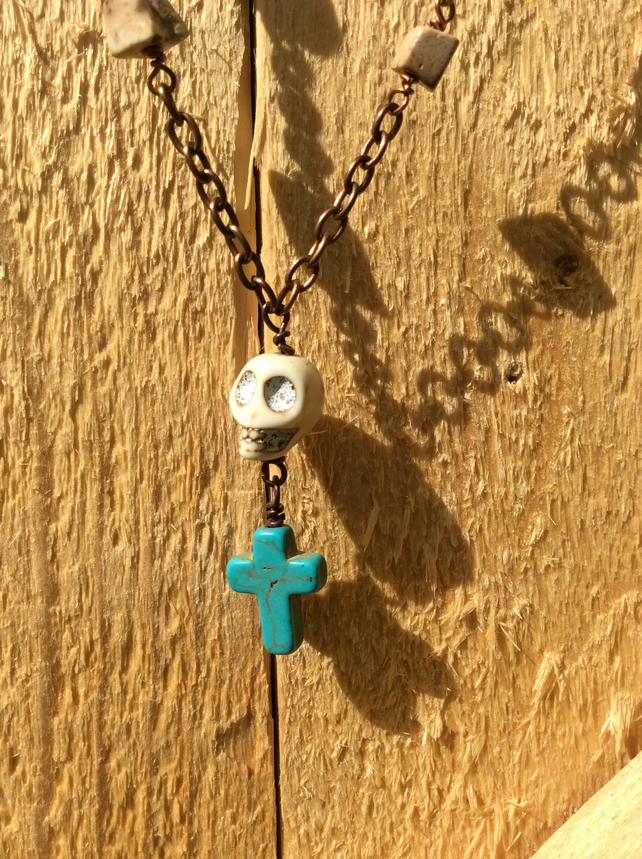 Skull and Cross-Stones Necklace Turquoise FREE POST