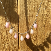 Pink Bead Drops Necklace FREE POST