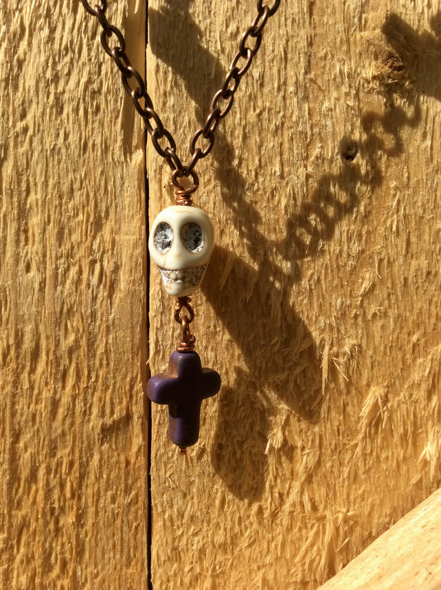 Skull and Cross-Stones Necklace Amethyst FREE POST