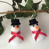 Snowman Christmas Earrings