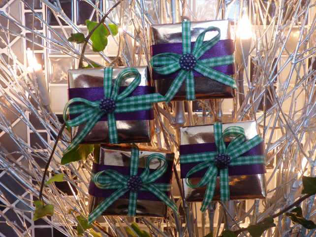 Christmas Present Tree Decorations Rose Gold Purple FREE POST
