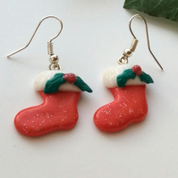 Christmas Stocking Novelty Fimo Earrings