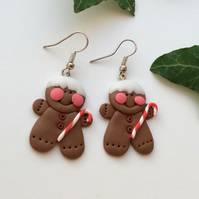 Christmas Gingerbread Novelty Fimo Earrings Red