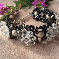Storm Flower Chunky Cuff Style Beaded Bracelet FREE POST