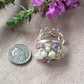 Silver Plated Wire Nest Ring Amethyst and Jade Pearl FREE POST
