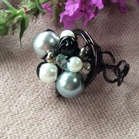 Reverse Fair Lady Cluster Nest Ring - Black Coated Copper Wire FREE POST