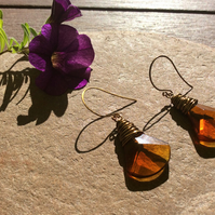 Dark Amber Faceted Glass Wire Wrap Earrings FREE POST