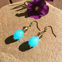 Turquoise Scent Bottle Bead Earrings FREE POST