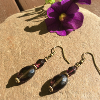 Amethyst Scent Bottle Faceted Glass Earrings FREE POST