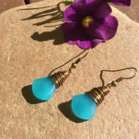 Turquoise Glass Axe Head Wire Wrap Earrings FREE POST