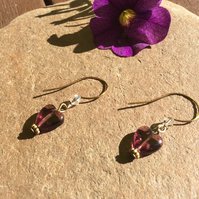 Purple Heart Crystal Earrings FREE POST