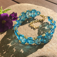 Turquoisetastic Glass Bead Bracelet FREE POST