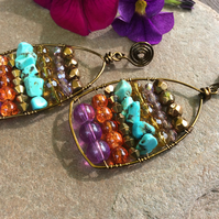 Purple Moroccan Bazaar Abacus Earrings FREEPOST