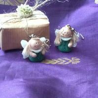 Christmas Novelty Fimo Earrings GREEN FAIRY