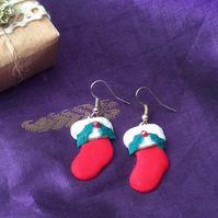 Christmas Stocking Novelty Fimo Earrings Crimson