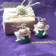 Christmas Novelty Fimo Earrings GREEN ANGEL