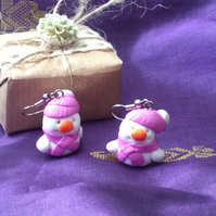 Christmas Novelty Fimo Earrings  SNOWMAN (PINK)
