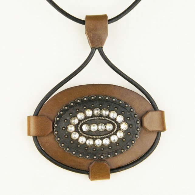 4 - LEATHER OVAL PENDANT