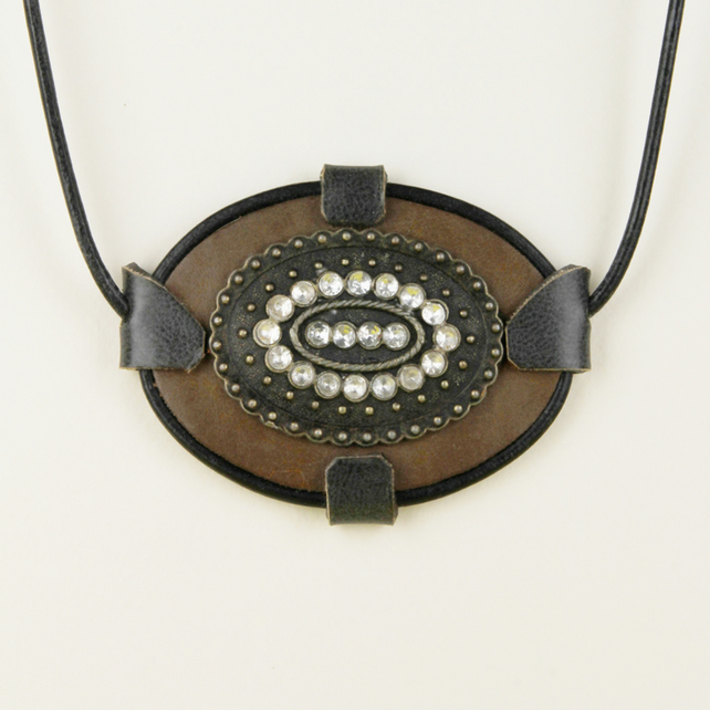 1 - LEATHER OVAL PENDANT