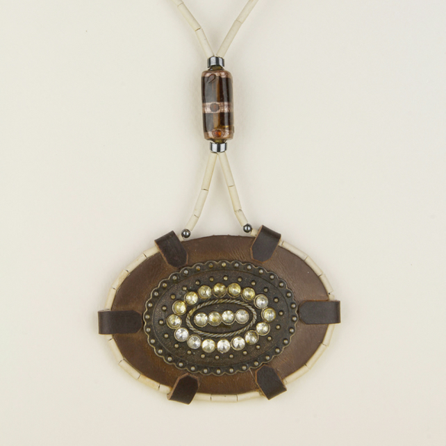 2 - LEATHER OVAL PENDANT