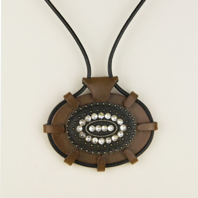 3 - LEATHER OVAL PENDANT