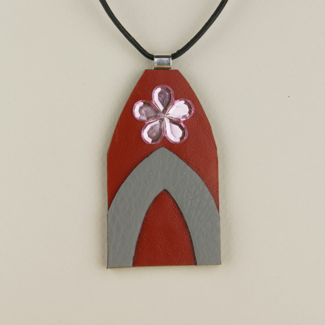 20 - CHURCH DOOR LEATHER PENDANT