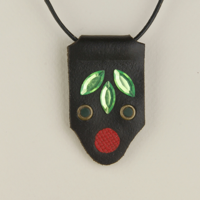 22 - TONGUED SHAPED LEATHER PENDANT