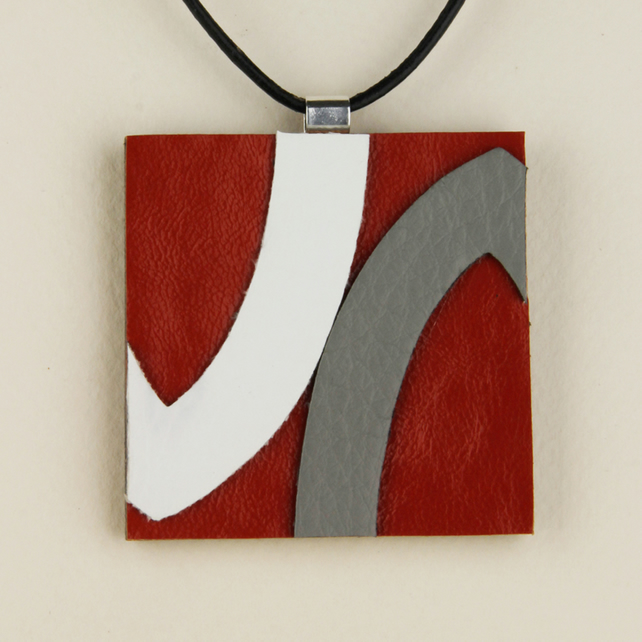 30 -  SQUARE LEATHER PENDANT