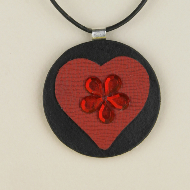 8 - LEATHER HEART PENDANT