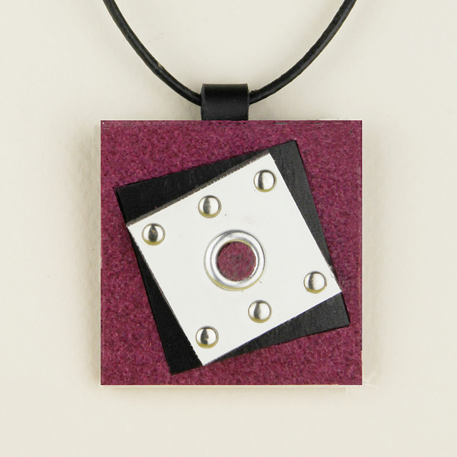 13 - SQUARE LEATHER PENDANT