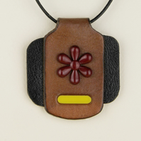 14 - IRREGULAR SHAPED LEATHER PENDANT