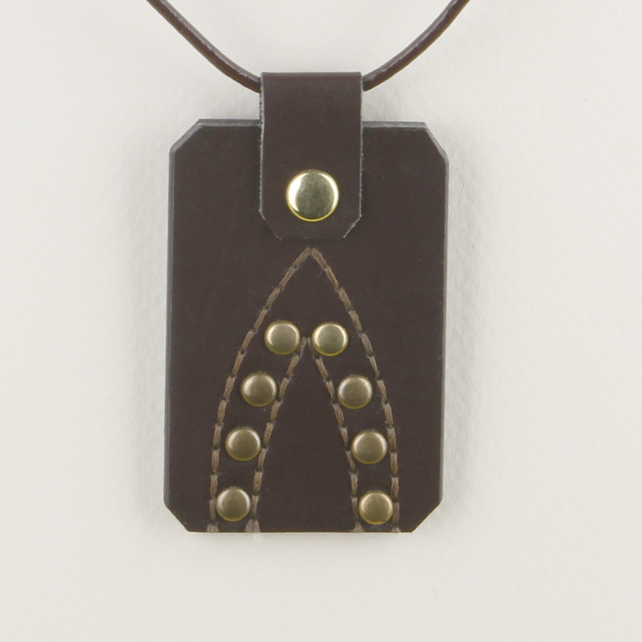 38 - LOZENGE SHAPED LEATHER PENDANT