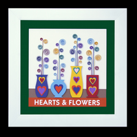 9 - HEARTS AND FLOWERS PAPER SCULPTURE WITH MATCHING VALENTINE CARD