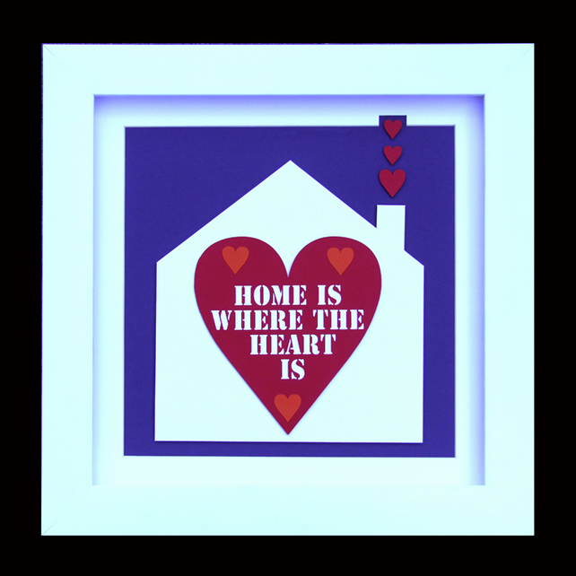 7 - HOME IS WHERE THE HEART IS PAPER SCULPTURE WITH MATCHING VALENTINES CARD