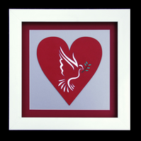 12 - DOVE OF PEACE PAPER SCULPTURE WITH MATCHING VALENTINE CARD