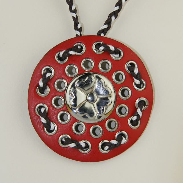 RED CIRCULAR LEATHER PENDANT