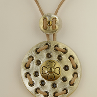 GOLD CIRCULAR LEATHER PENDANT